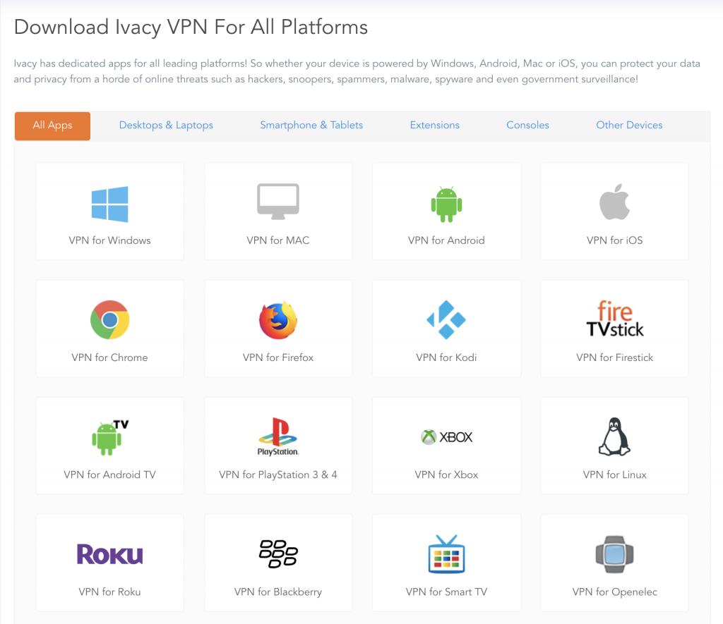 IvacyVPN支援的系统